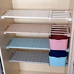 AEVEL Support de rangement pour penderie sans clou, Support pour organisateur d'armoires de salle de bain, support réglable s'étendant de 56 à 95 cm (blanc)