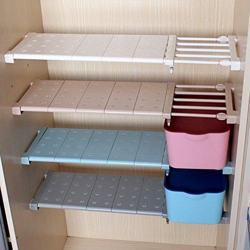 Aevel telescopico storage rack-kithchen, per armadi, bagno, caddy, guardaroba, armadi, scomparto raccogliere prop-scaffale estensibile regolabile 57/90 cm bianco