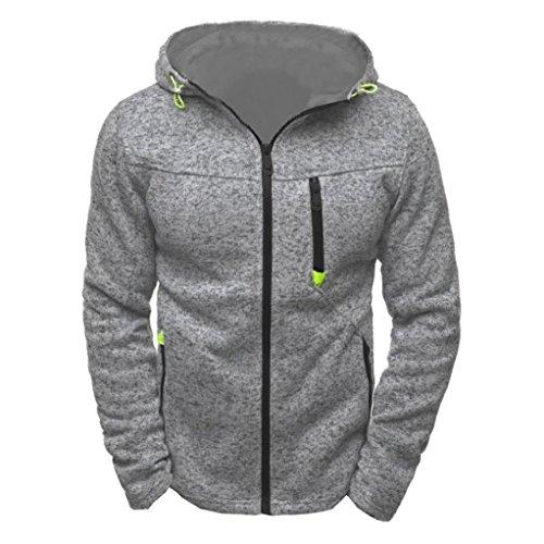 YunYoud Männer Kapuzenpullover Herren Beiläufig Lange Ärmel Mantel Mode Slim Fit Jacke Winter Herbst Reißverschluss Mit Kapuze Sweatshirt (XXL, Grau) (Breasted Band Double)