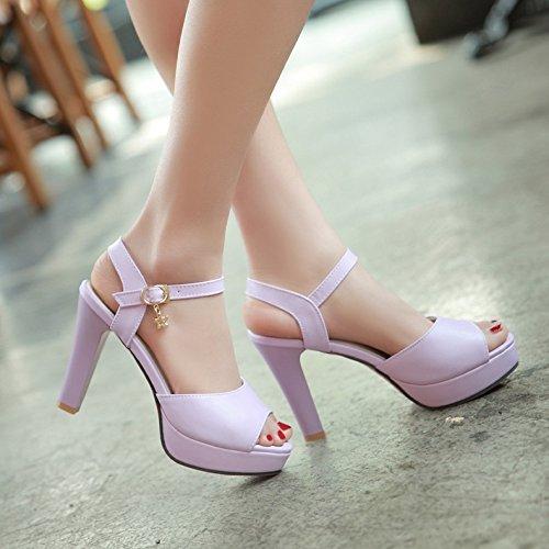 La mode des femmes d'été confortables sandales hauts talons,39 Beige Purple