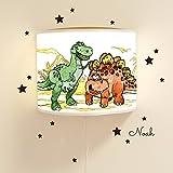 Leseschlummerlampe Leselampe Schlummerlampe Kinderlampe Lampe Dinosaurier mit Wunschnamen Lampe mit fluoreszierenden Elementen und Nachleuchteffekt Ls17 - ohne Wandtattoo