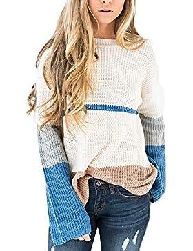 [Patrocinado]Suéter Mujer,ZARLLE Otoño Mujeres Suéter Moda Jerséy Mujeres Manga Larga Cuello Redondo Jersey Suéter de Punto...