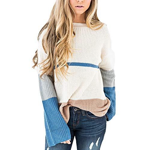 Preisvergleich Produktbild Subfamily Damenbekleidung Damen-Pullover Winter Plus Size Womens Streifen Printed Long Sleeve Fashion T Shirt Tops Pullover Mantel Langarm Streifen Ornamental Blume Handarbeit Outfit