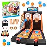 Lispeed Tischplatte Mini-Basketball Korbwurf Spiel 2 Spieler Korbwurf Basketballspiel, Basketball Tischspielmit Scoring Gerät für die Kinder Erwachsene 28 * 24 * 23CM