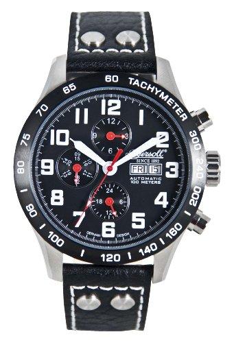 Ingersoll 'Pea Ridge' gents black dial black leather strap watch