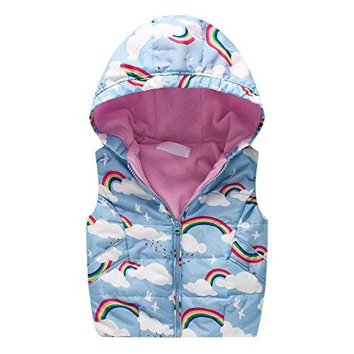 Mädchen Westen Warme Cartoon Tiere Jacke Herbst Winter Parka Windbreaker Oberbekleidung Blauer Regenbogen/6-7Y (La Parka Kostüme)
