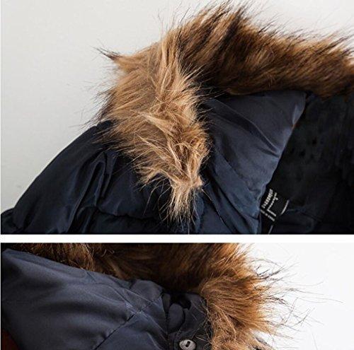 Brinny Winterjacke | Wintermantel | Stepp-Mantel Parka-Stil mit Fellkapuze aus Kunstpelz auch für den Übergang Herbst / Winter Schwarz
