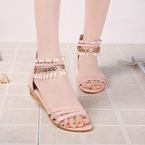 Omiky® Sommer-elegante Plattform-Schuh-Frauen-Perlen-Keil-Sandelholze beiläufige Schuhe Rosa