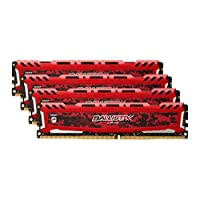 Ballistix Sport LT 64GB Kit (16GBx4) DDR4 2666 MT/s (PC4-21300) DR x8 DIMM 288-Pin - BLS4K16G4D26BFSE (Red)