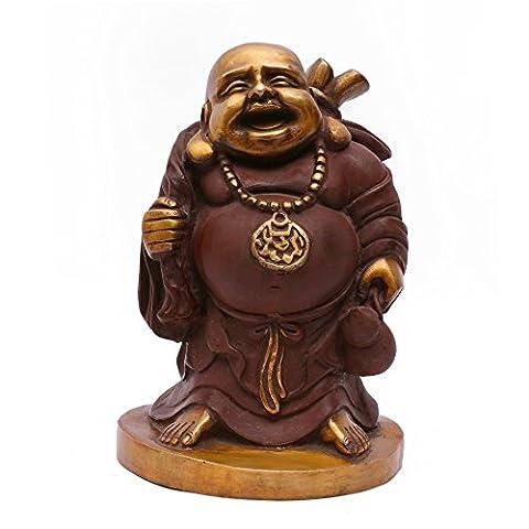 27,9cm Happy Bouddha rieur Grand sculpture, statue en laiton porte-bonheur Feng Shui Bouddha chinois, et cadeau Home