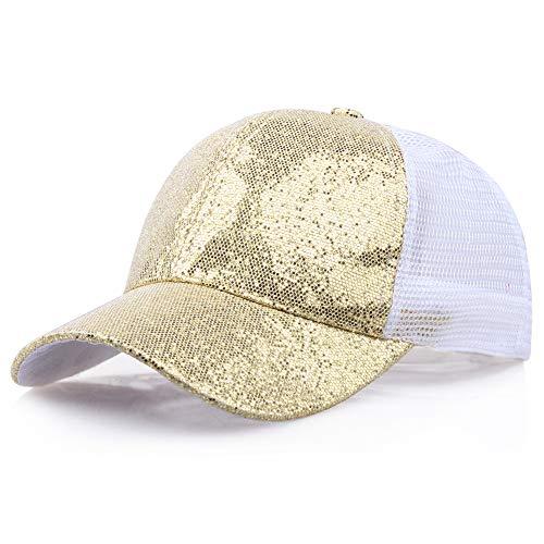 SANFASHION Damen Mädchen Mützen Baseball Cap Pferdeschwanz Baseballmütze Pailletten Unisex Baseballcap Reine Farbe Kappe (L, Gold) (Mann Mit Dem Gelben Hut Kostüm Kind)
