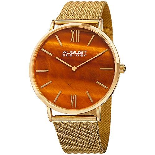 August Steiner Reloj de cuarzo naranja esfera de hombre as8218yg