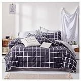 Draps Larges de lit sont taie d'oreiller en Coton Maison Simple literie Textile Quatre Saisons universelles 2 Couleurs MUMUJIN (Couleur : Dark Blue Grid, Taille : 1.5m)