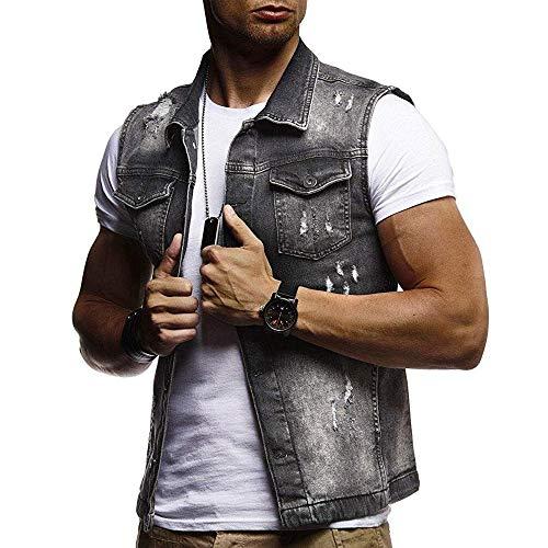 ose Jeansjacke Slim Fit Beiläufige Cowboy Jeansweste Denim Slim Fit Jeans Weste Outwear ()