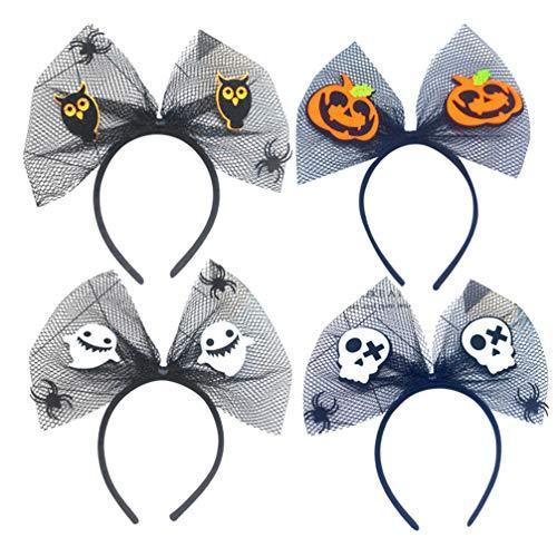 Amosfun halloween bogenknoten stirnband kürbis geister schädel haarband netz kopfbedeckung halloween kostüm zubehör 4 - Einzigartige Mutter Tochter Kostüm