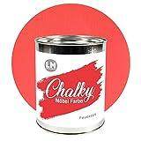 LM-Kreativ Chalky Möbelfarbe deckend (Feuerrot), deckend, matt finish In- & Outdoor Kreide-Farbe für Shabby-Chic, Vintage und Landhaus Stil, 1 Liter