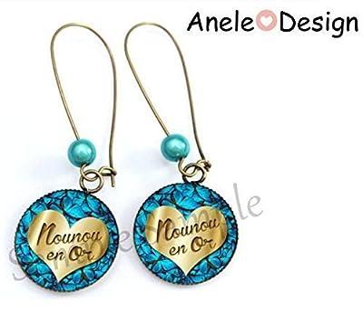 Boucles d'oreille Nounou en Or Cadeau Nounou bleu