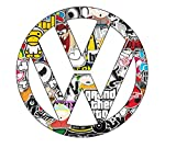 2x VW Stickerbomb Aufkleber Sticker Decal ca 10cm Logo JDM Ken Block Auto Tuning Styling Motorrad