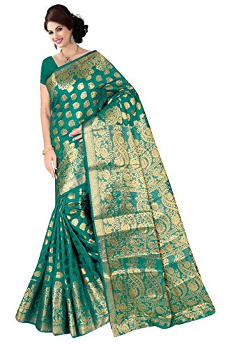 Boutique On Palm Bollywood Style New Generation Concept Party Wear Saree Banarasi Silk Sarees (Rama Jacquard Royal Pallu Bridal Panel)