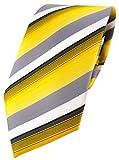 TigerTie Designer Krawatte in gelb grau weiss schwarz anthrazit gestreift - Tie Binder