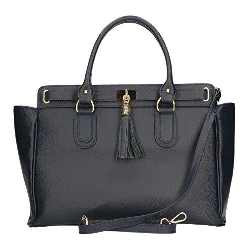 CTM Sac à main femme élégante avec Inner bandoulière, cuir made in Italy - 40x27x18 Cm