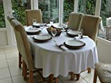 """59x82"""" WHITE OVAL 100% COTTON TABLECLOTH (6 SEATER)"""