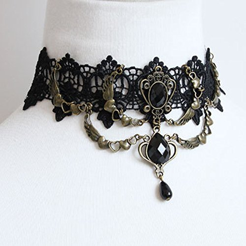 Gotisch Schwarz Spitze Choker Halskette mit Anhänger für Frauen / Mädchen Punk Party Cosplay Kostüme Hochzeit Schmuck Christams Geschenke (Gotische Frauen Mädchen Kostüme)