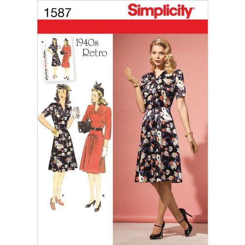 e8f02ec53c2a Simplicity R5 1587 Taglia Misses And Miss Petite CRAZYLADIES Costumes-Costume  da Cucito in Stile Vintage