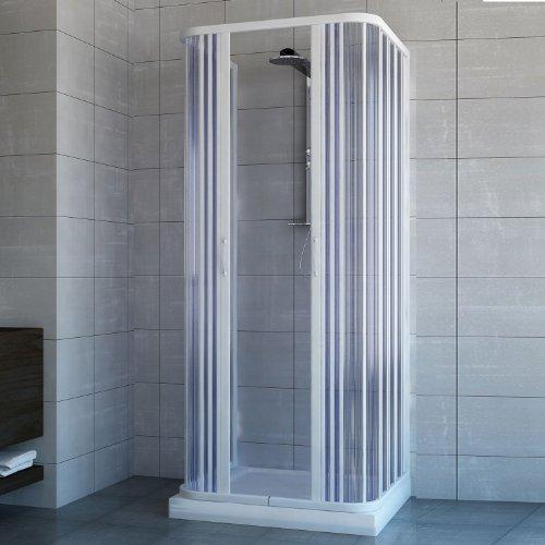 Cabine Paroi de douche 3 côtés en Plastique PVC mod. Ariete 70x70 cm avec ouv