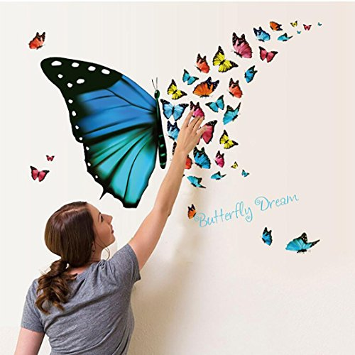 Manadlian Kinderzimmer Wandsticker Set 3d Leuchtend Doppelschicht Schmetterlinge Wandaufkleber Schmetterlingsschwarm zum Kleben Wandtattoo Wandaufkleber Sticker Wanddeko (Mehrfarbig)