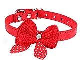 Ducomi® Verstellbares Halsband aus Leder mit gehäkelter Fliege und gepunkteten Schleifenbändern für Hunde, Katzen und Welpen, rot, 0647903005383 Medium