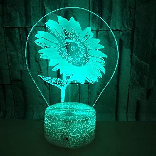Jinson well 3D sonnenblumen Lampe optische Illusion Nachtlicht, 7 Farbwechsel Touch Switch Tisch Schreibtisch Dekoration Lampen perfekte Weihnachtsgeschenk mit Acryl Flat ABS Base USB Kabel kreatives