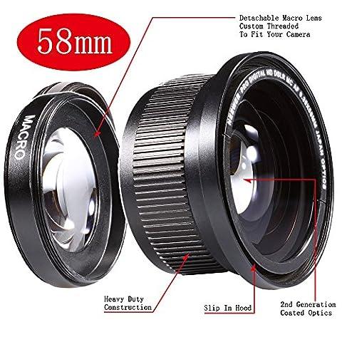 Neewer® 58MM 0.35X Fischaugen Super-Weitwinkel-Objektiv m / Makro Nahaufnahme Umwandlungs-Objektiv für Canon Rebel (T5i T4i T3i T2i T1i XT XTi XSi SL1), CANON EOS (700D 650D 600D 1100D 550D 500D 100D 60D 7D) DSLR-Kameras + Mikrofaser Reinigungstuch