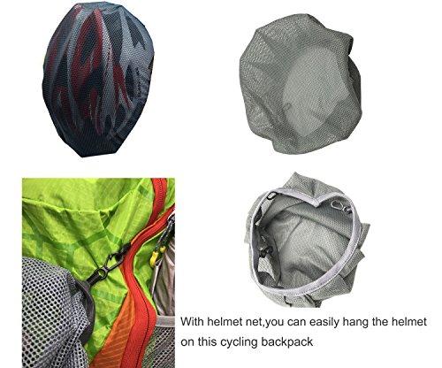 REPHYLLIS Outdoor Professional Fahrradrucksäcke Radfahren Rucksack 15L Nylon Ultra-leichter Wasserdichter Radsport Rucksäcke Wanderrucksäcke Trinkrucksäcke Mit Helm Aufbewahrungsnetz Grün