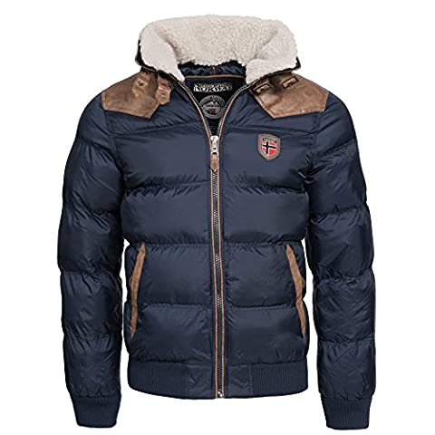 Geographical Norway Herren Winterjacke Abraham – Mantel mit Fell Kragen – Gefütterter warmer Anorak Stepp – Bomber Outdoorjacke Winter 2017/18 (XXXL, Navy)