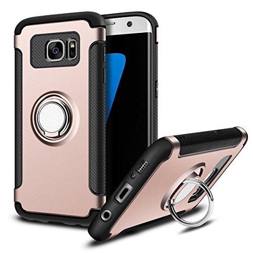 Galaxy S7 Edge (5,5 Zoll) 360 Grad Drehbar Ringhalter mit Magnetischer Handyhalter Auto Handyhülle (Roségold) ()
