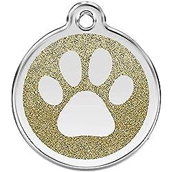 Red Dingo Collier à motif pattes pour chien imprimé étiquette d'identification