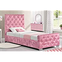 Beaumont Pink or Silver Crushed Velvet Fabric Bed Frame with Diamantes 3ft Single Storage Base Girls Princess Bed Frame
