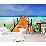YShasaG Seidenwandbild Benutzerdefinierte Wandbild 3D Fototapete Küste Blick auf Das Meer Holz Gehweg Hintergrund Wand 3D Wandmalereien Tapete Für Wand 3 D,200cm*140cm