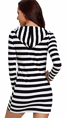 La vogue Damen Bodycon Hoodie Kleid Langarm Sweatshirt pullover Mini