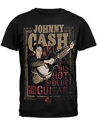 Johnny Cash-Guitar T-Shirt, weich, warm, Blau