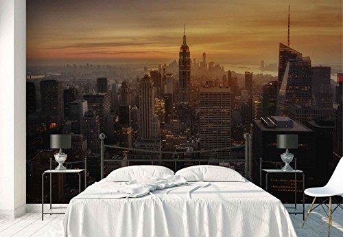 Papier peint mural - La Ville De New York Grattes Ciels Skyline - Thème Villes - XL - 368cm x 254cm (LxH) - 4 Parts - Imprimé sur 130g/m2 papier intissé EasyInstall - 1X-1079207V8