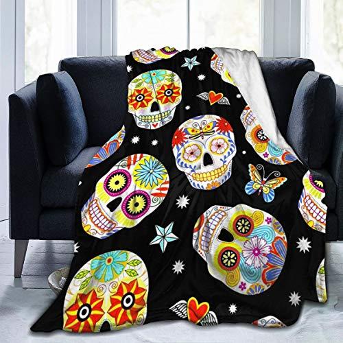 BODY Manta de Forro Polar Tradicional Mexicana con diseño de Calaveras de azúcar, para el hogar, para sofá, Silla, Cama,...