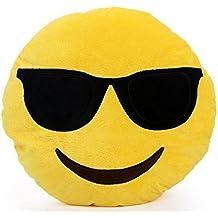 NO 1: Emoji rond-Coussin Smiley-Expressions-Peluche-Peluche-Lunettes de soleil