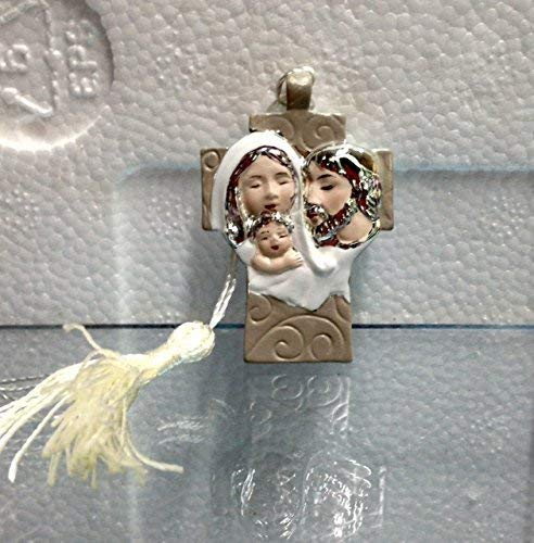 Publilancio srl super offerta 61 pezzi icona croce in resina silver con sacra famiglia e nappina bomboniera nascita comunione cresima