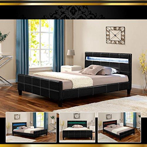 Di-Nesh Luna LED Luxus Schwarz 140x200cm Polsterbett Doppelbett Bettgestell Bettrahmen mit Lattenr