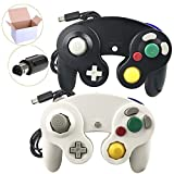 Poulep 2 Pack Klassisch Wired Gamepad Joypad Controller Kompatibel für Wii Nintendo GameCube(Black and White)