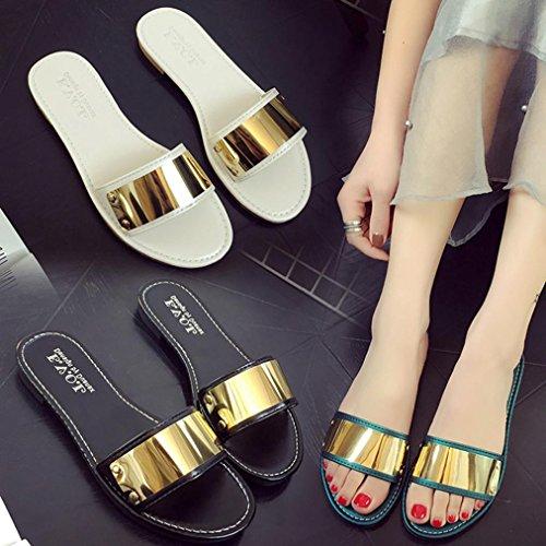 Omiky® Frauen-Art- und Weisesommer-flache Flipflop-Sandelholz-Müßiggänger-Böhmen-Schuhe Weiß
