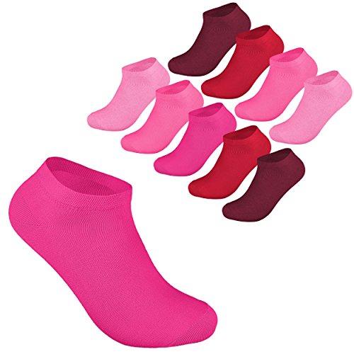 10 Paar Sneaker Socken Damen und Herren Kurzsocken Füßlinge Baumwolle in 35-38 Beerentöne OEKO TEX STANDARD