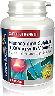 Glucosamine 1000mg with Vitamin C | 180+180 (360) Tablets| May support healthy joint function | 100% money back guarantee | Manufactured in the UK by Simply Supplements